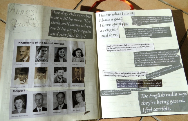 Zoe's journal after visiting the Anne Frank House
