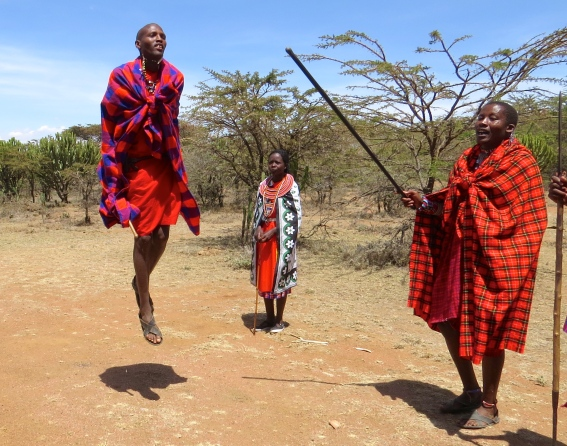 Maasai traditional jumping, to get the ladies