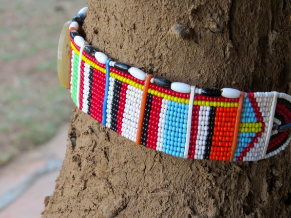 Traditional beaded jewelry adorned a tree outside our hut