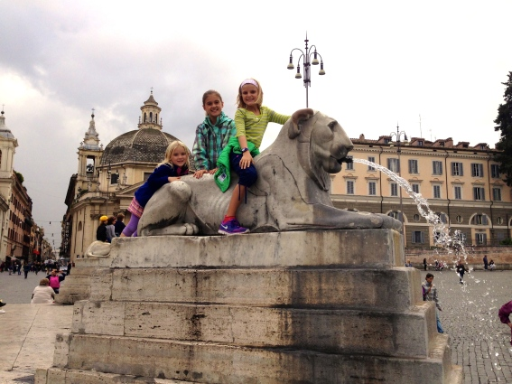 Atop one of Rome's many gorgeous fountains