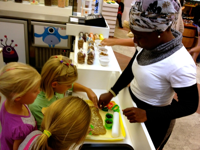 """We found a """"make-your-own"""" cookie station in a natural foods court downtown."""