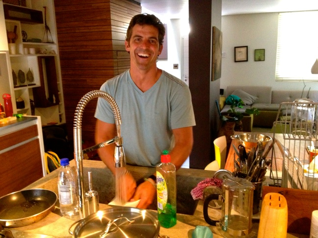 Really, he's not this happy about the dishes.