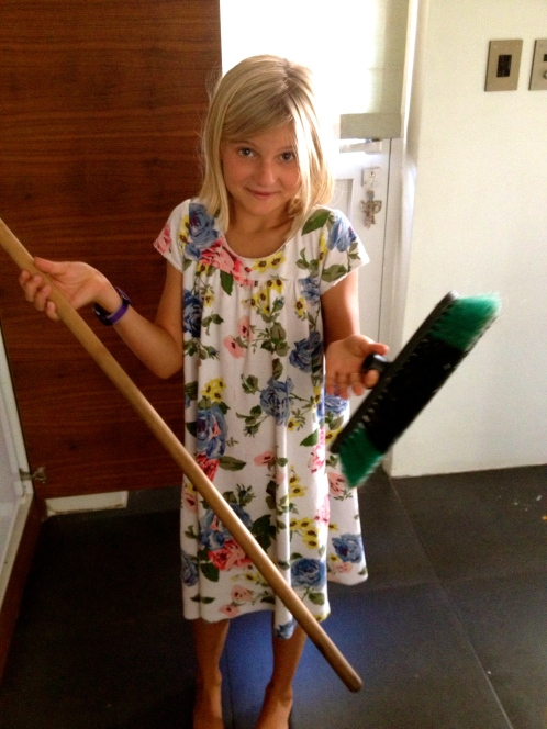 Hard to sweep with a broken broom!