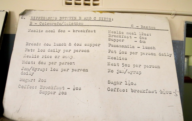 A list of the food rations for inmates, delineated by race