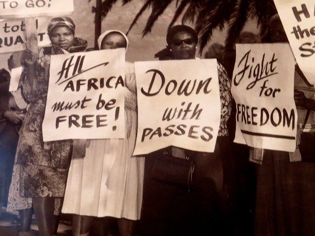 A photograph depicting the early protests against Apartheid