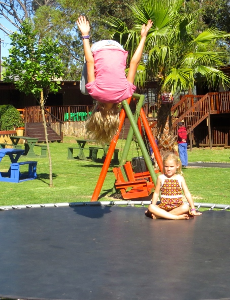 Of course we find playgrounds and trampolines!