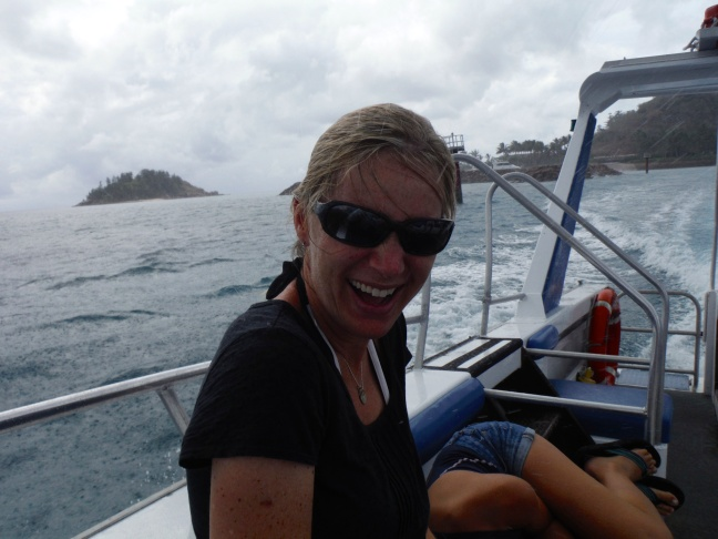 Getting caught in a downpour on our way to a reef