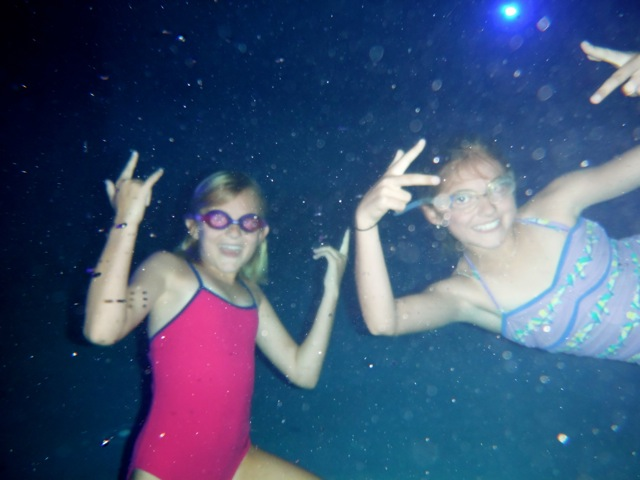Underwater in the pool at night