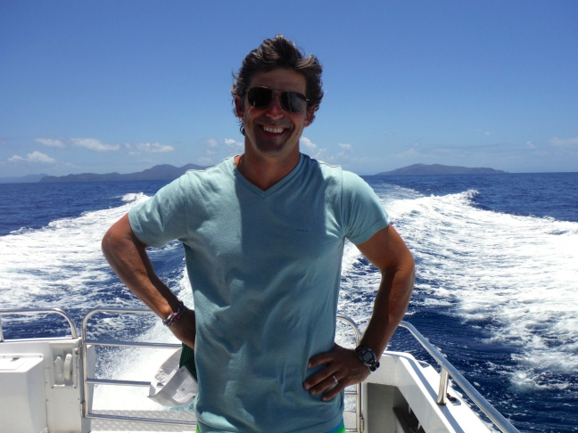 Jeff on his way with Schuyler to the far reefs