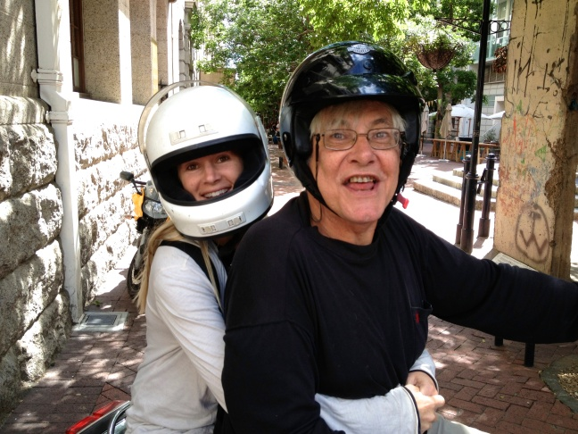 Blair gets a ride on Doc Rob's motorcycle - thrilling!