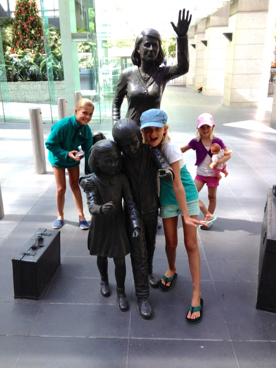 Posing by a Melbourne sculpture