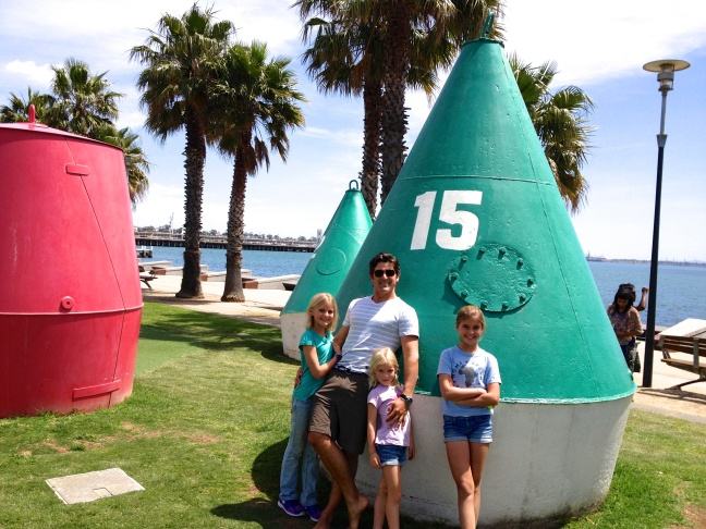 Geelong seaside park, with giant buoys to romp around