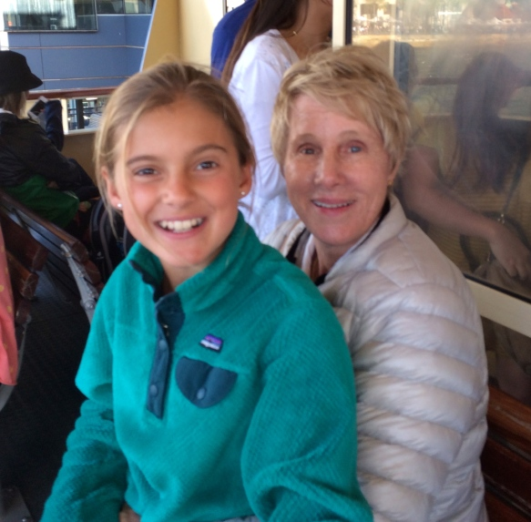 Schuyler and Mumsy on the ferry to Manly Beach