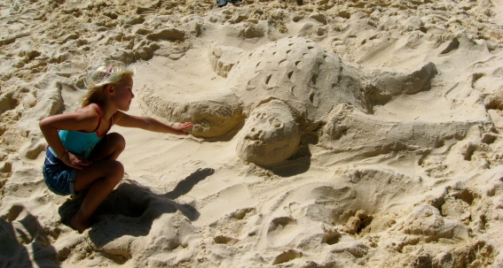 Making sand sculptures at Bondi Beach