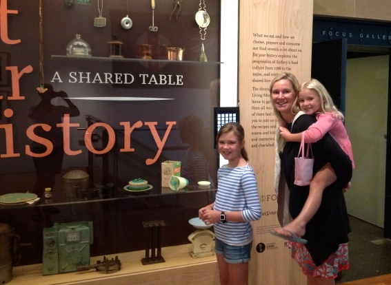 Blair, Thayer and Halle learn about colonial settlers in Australia at the Museum of Sydney