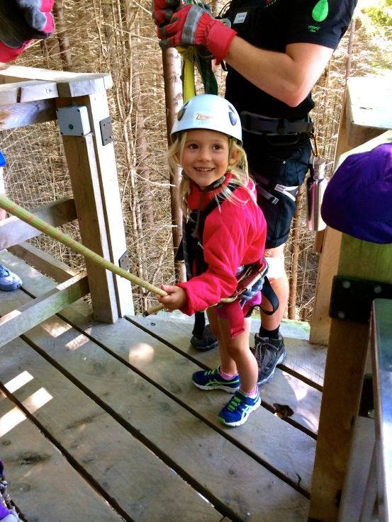 Thayer is thrilled to be the SMALLEST EVER zip-liner at this course!