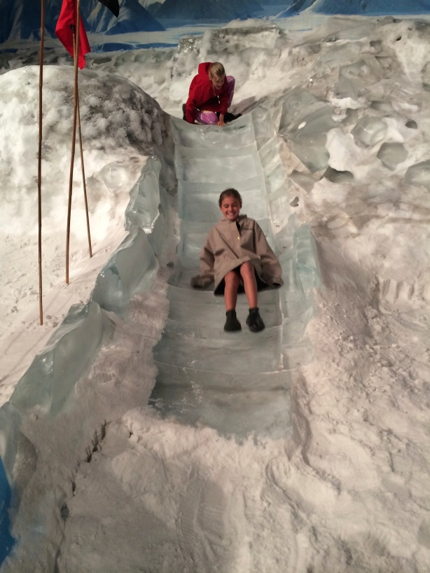 Ice slide makes for cold bums