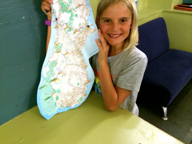 Zoe maps our S. Island route for her journal/scrapbook