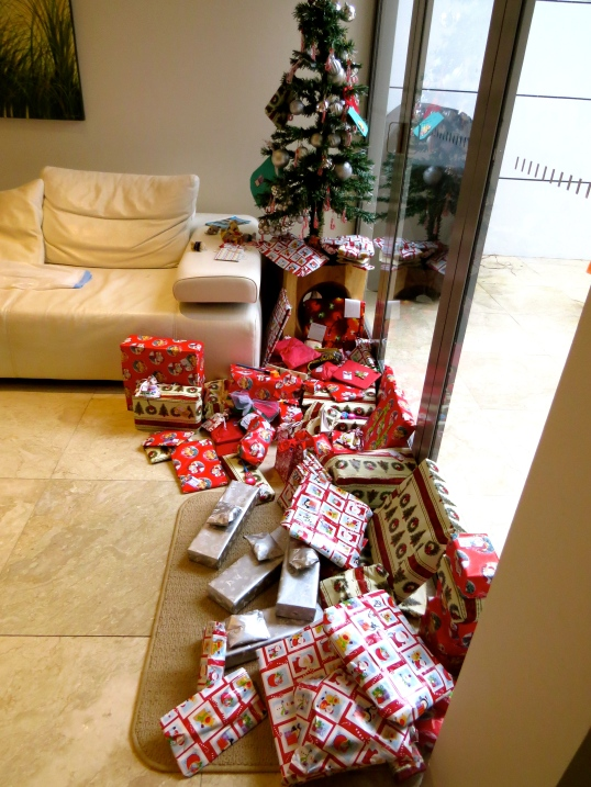 Packages under the tree, note the small size of everything for the traveling family!