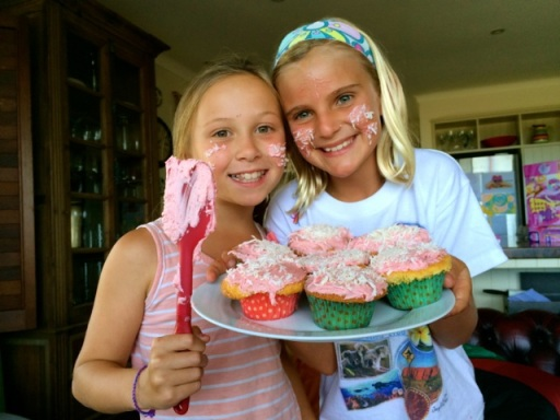 Zoe and her friend Milly have a baking playdate at our house after school