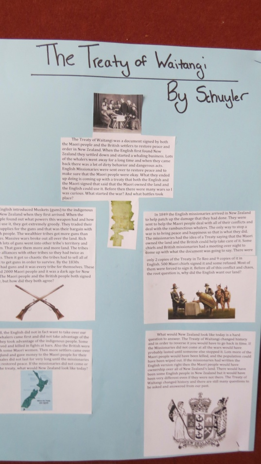 I did a report on the Treaty of Whaitangi between the native Maori people and the European settlers