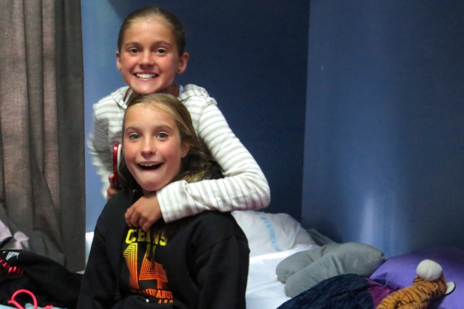In my bunk bed room with my goofy friend, Jessica