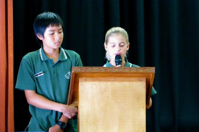 Josh and I, leading Assembly