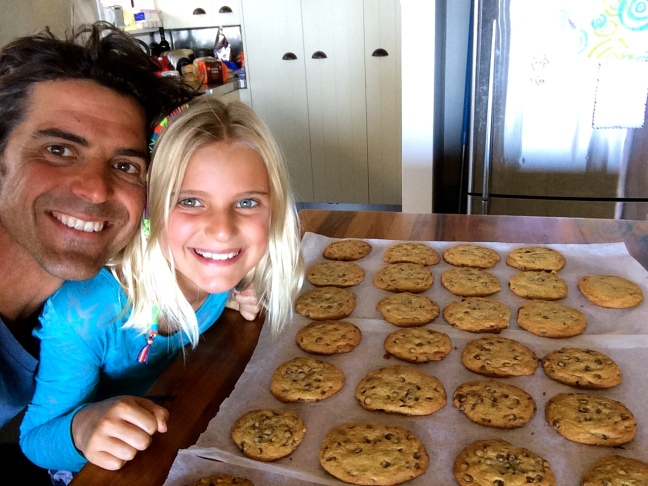 Dad and I baked heaps of cookies for my overnight camp