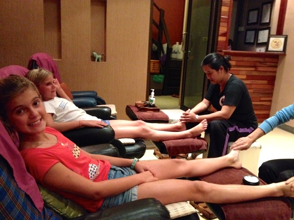 First stop upon arrival, $3 foot massages for the Demers ladies!