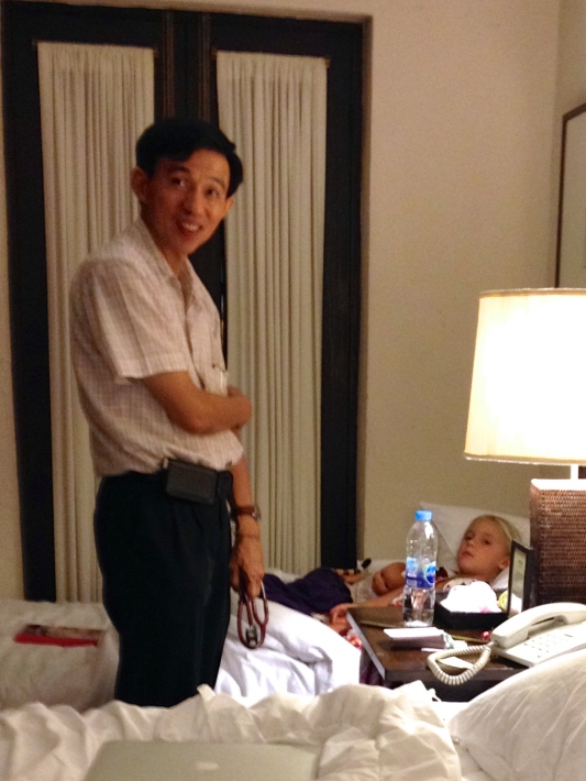 A Thai doctor makes a house call to our hotel room to check on both Zoe's and Thayer's high fever