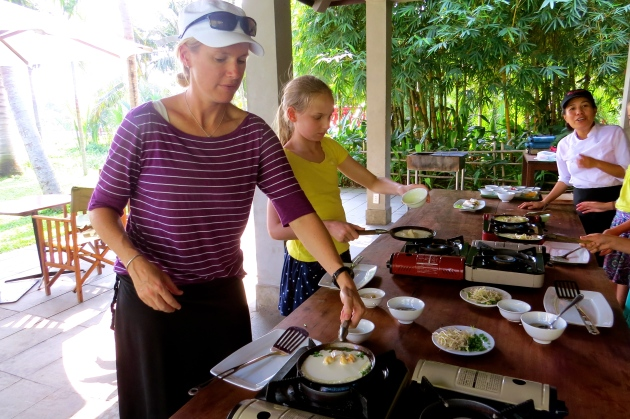 Here we are making traditional Vietnamese pancake rolls