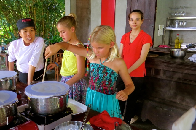 Our turn to make the rice paper rolls - super fun