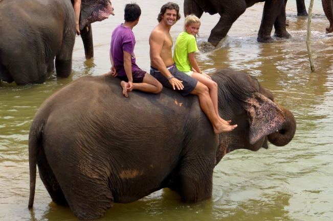 Jeff and Schuyler, with the Mahout or handler behind them