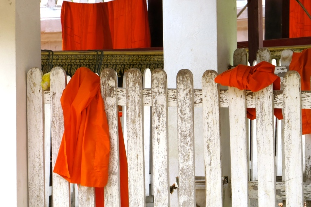 Monks robes drying inside a temple compound