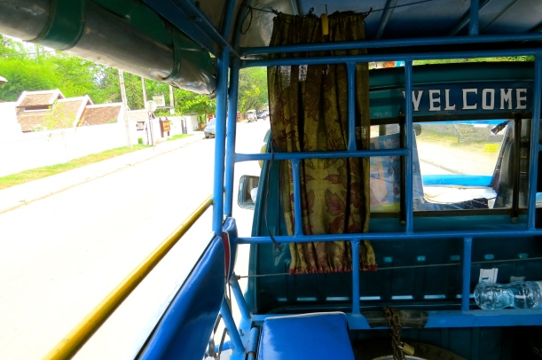 View from the bench seat of a tuk yuk, on our way into town