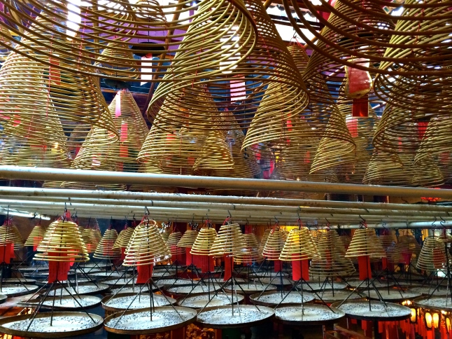 Incense hanging from the temple ceiling