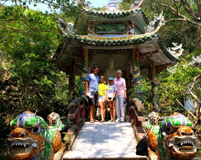 Outside a lovely temple near Danang