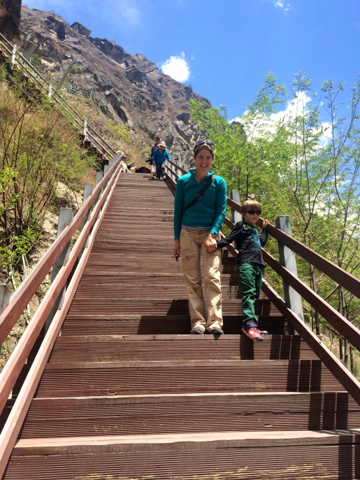 Gloria and Caden manage the steep descent together