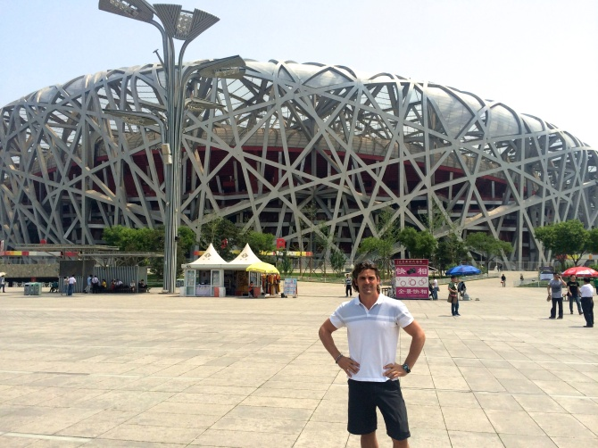"""In front of """"The Bird's Nest"""""""