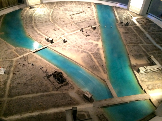 Inside the museum, a large model of Hiroshima just after the bombing