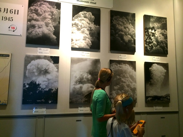 Passing images of the mushroom cloud