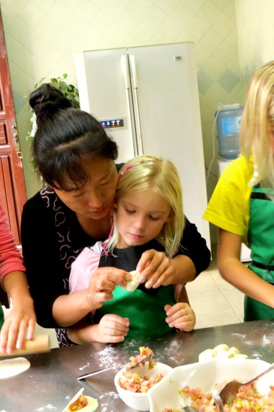 Thayer gets help when she overstuffs her dumpling