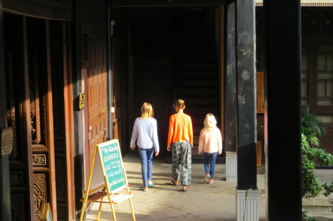 The girls walk to breakfast on a sunny morning at the Centre