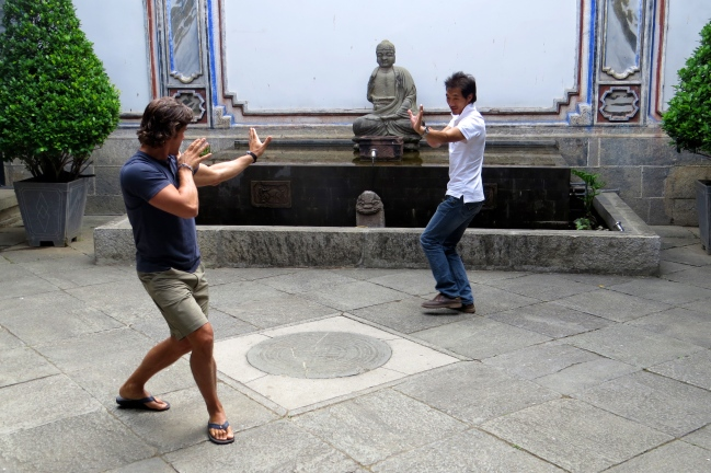 Jeff learns some traditional tai chi from Frank, the Centre's General Manager