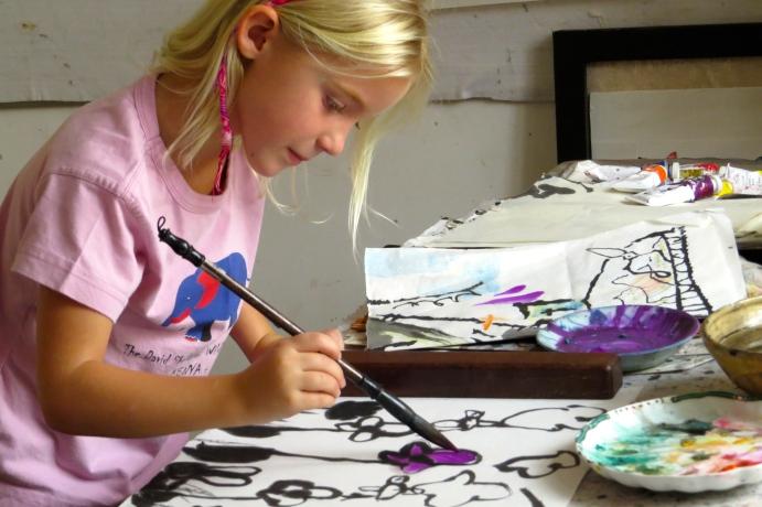 Focused on her work!