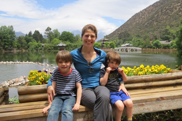 Gloria and her sons, Tristan and Caden, in Lijiang