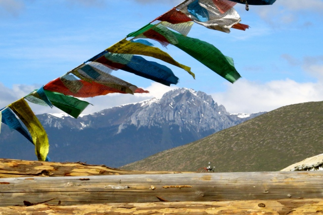 Buddhist prayer flags adorned many scenic backdrops in Shangri-La