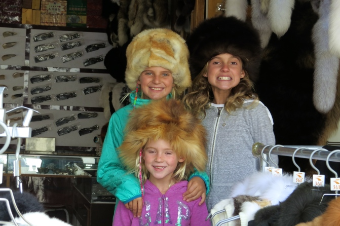 The girls found these fantastic hats and asked to bring them home. Then we were told they were DOG FUR, and they opted to leave them behind. Save the Dogs!