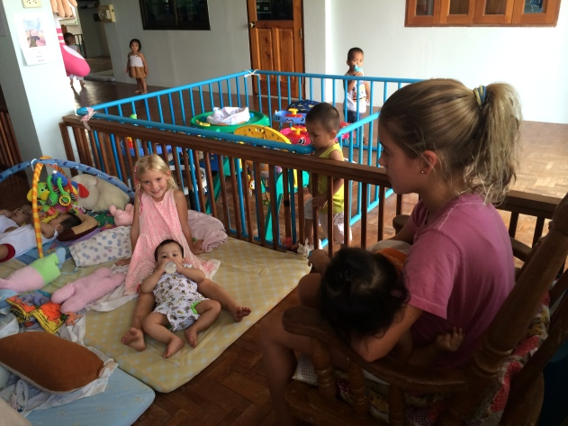 Both girls spent a lot of time with the youngest residents on their second afternoon at the center