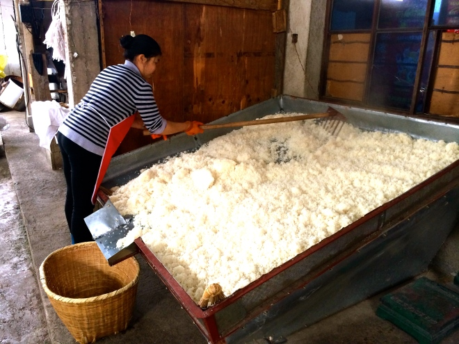 First, the rice is soaked for many hours before it is cooked
